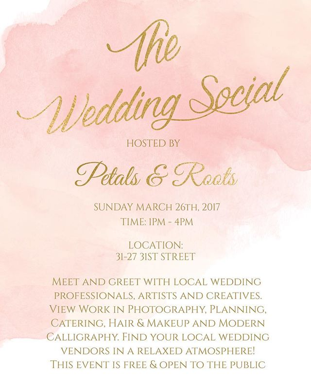 Join us this Sunday for The Wedding Social at Petals & Roots. Searching for the perfect vendor? We've got you covered. Come mingle and sample the work of local creatives and pros. Call with questions and we hope to see you! Cheers! . . . . Graphic design by Margaret Huang of @theubooth