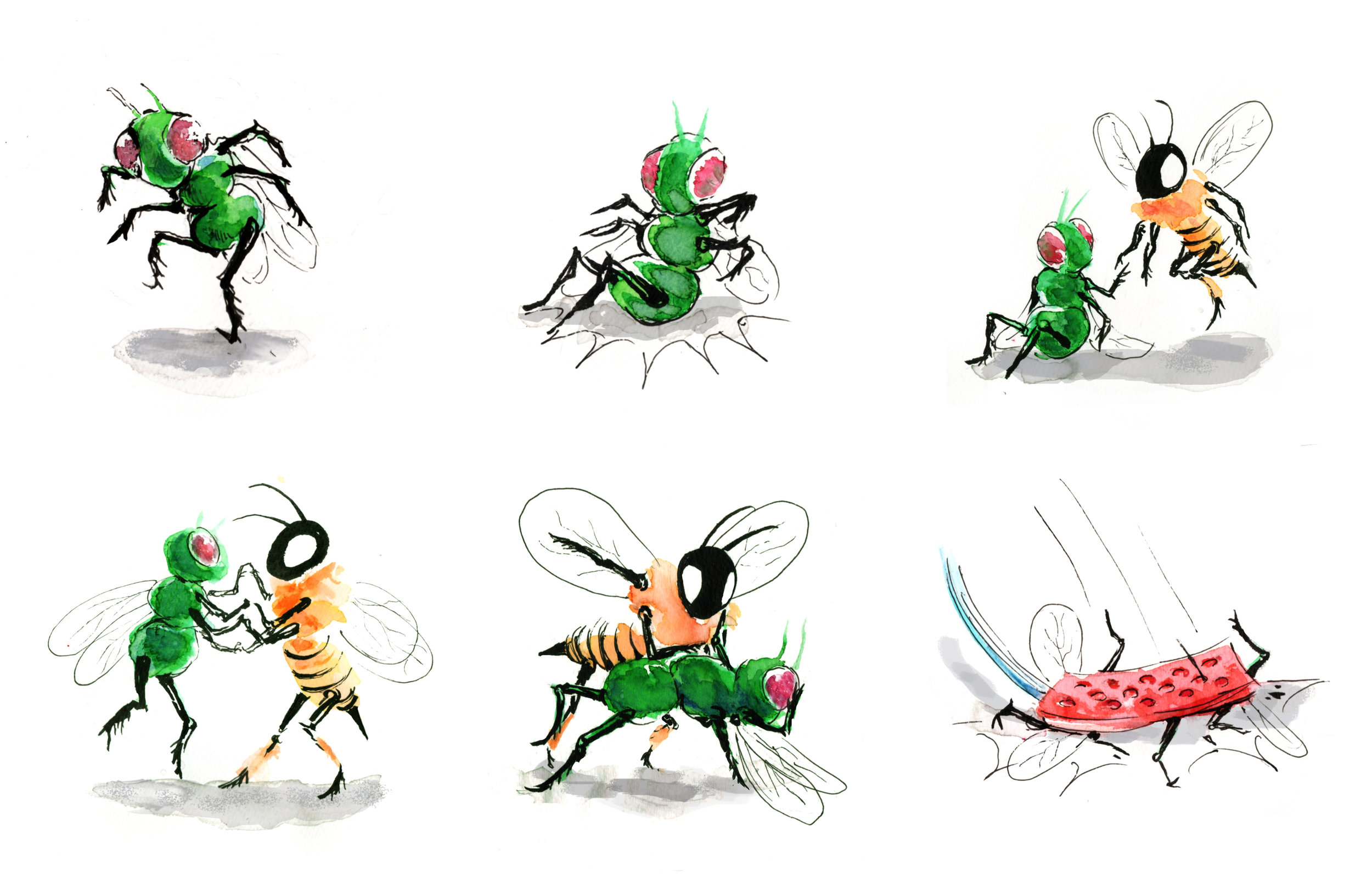 Series of drawings with a bee teaching a fly to dance, before crushed by fly swatter.
