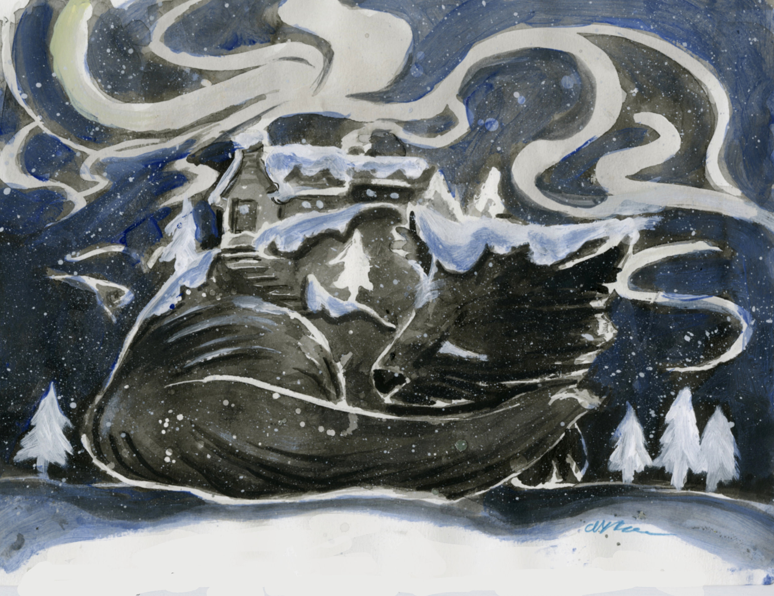 Fox curling up in the snow on a snowy winter night, with a cozy cottage on its back