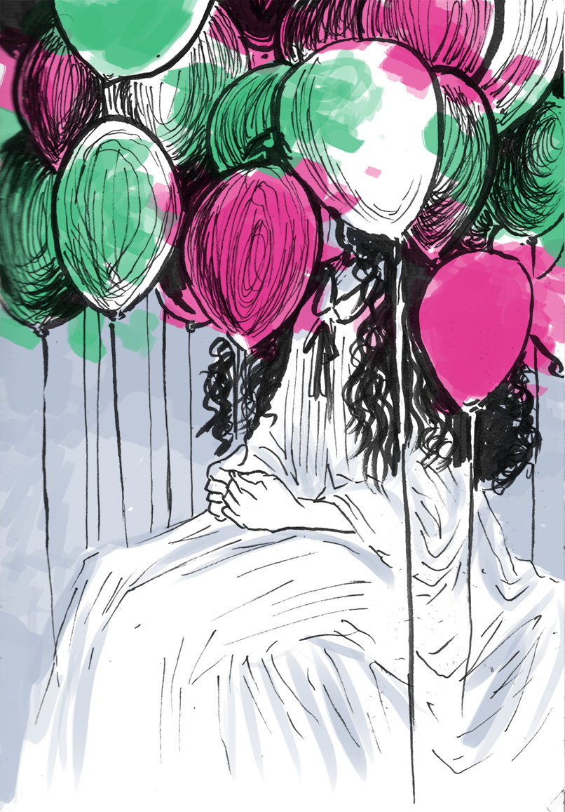 Image of woman sitting with baloons obscuring her face completely.