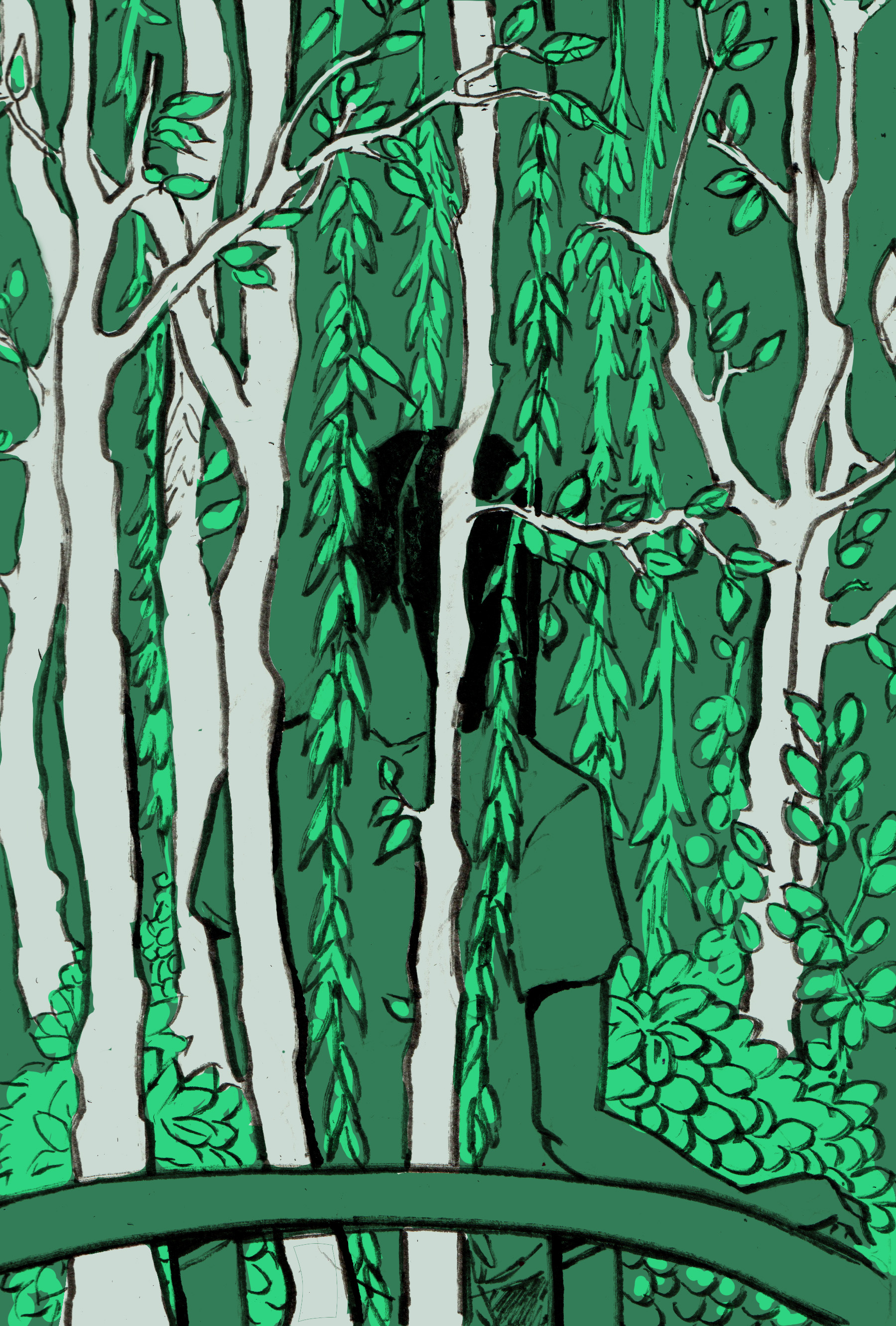 Figure standing in forest with back facing viewer with trees and branches obscuring parts of them