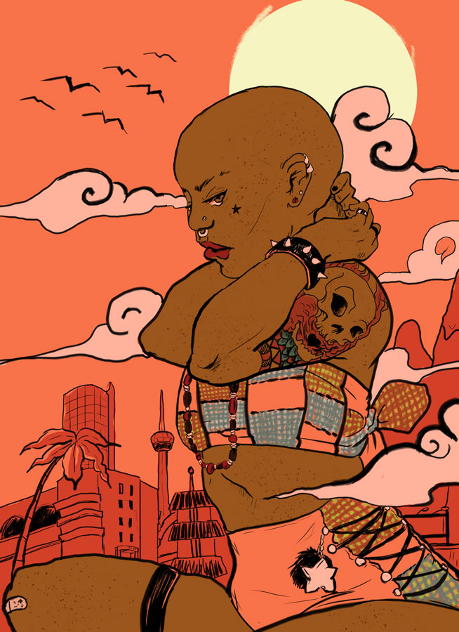 Dark-skinned woman crouching in foreground, with stylized city and mountains in the backgrouund