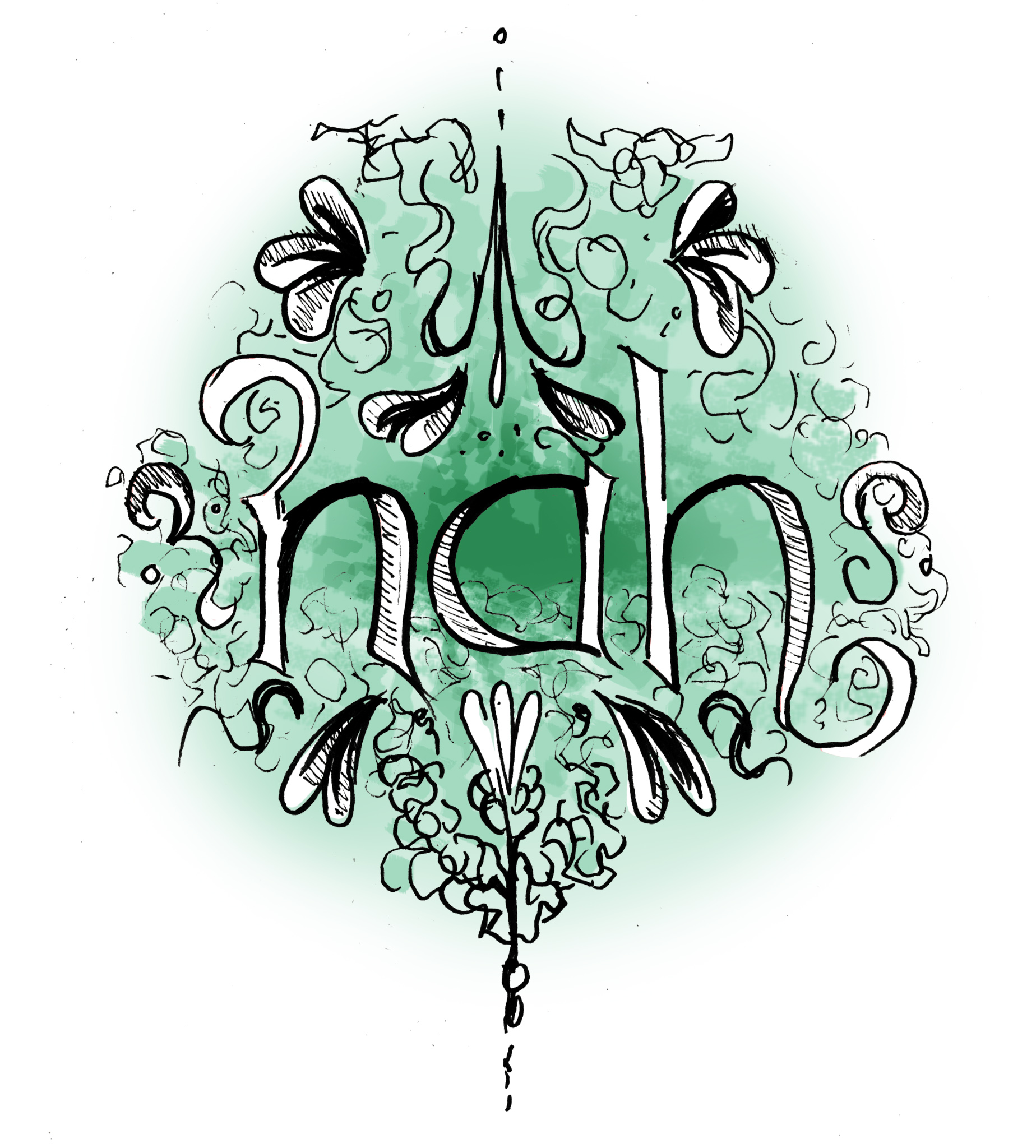 The word 'Nah' written over floral swirls and green colour