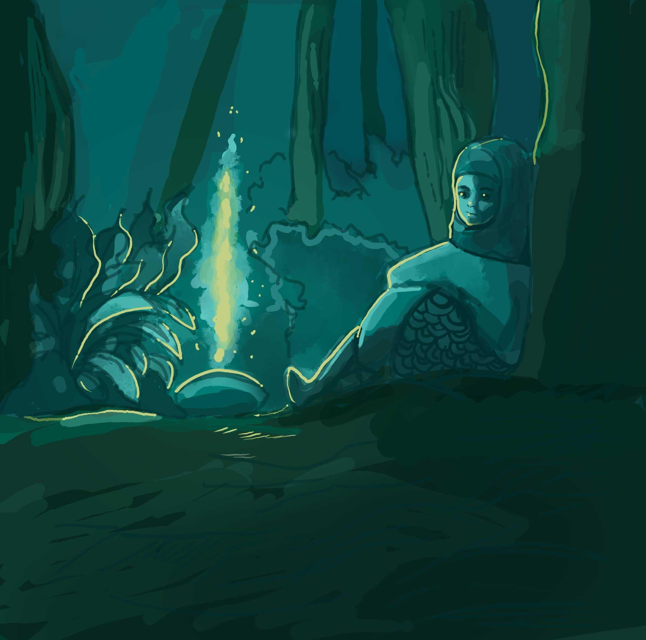 Girl sitting near fire in a very dark forest