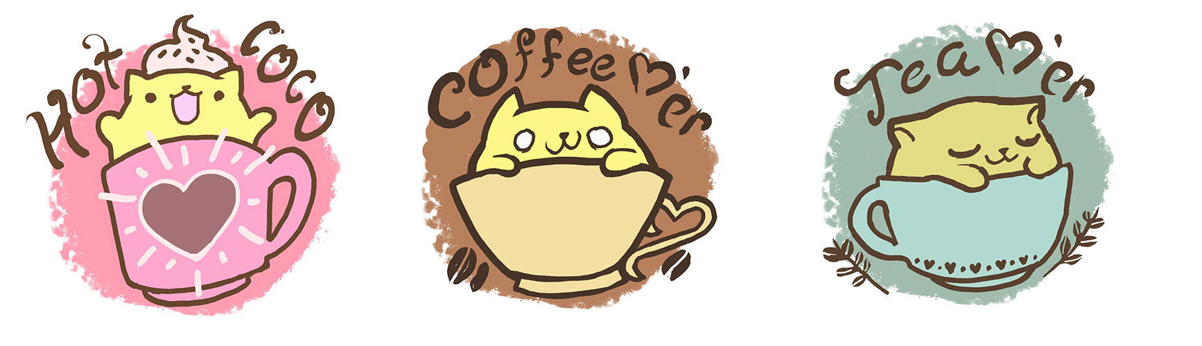 """Drink Lovers  Character Illustration // Digital A set of characters created as  a sticker set about the age old debate of """"coffee or tea""""."""