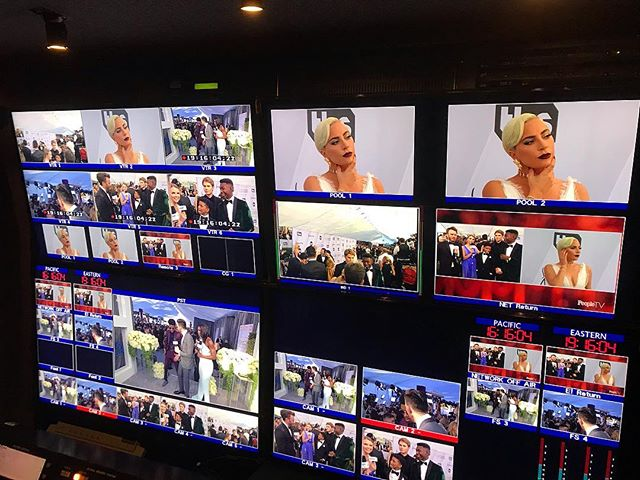 Another successful production for the SAG Awards pre show tonight. This was a #MultiCamera and #MultiPath production. Here is a glimpse of the front monitor wall in TES2-Transportable Earth Station.