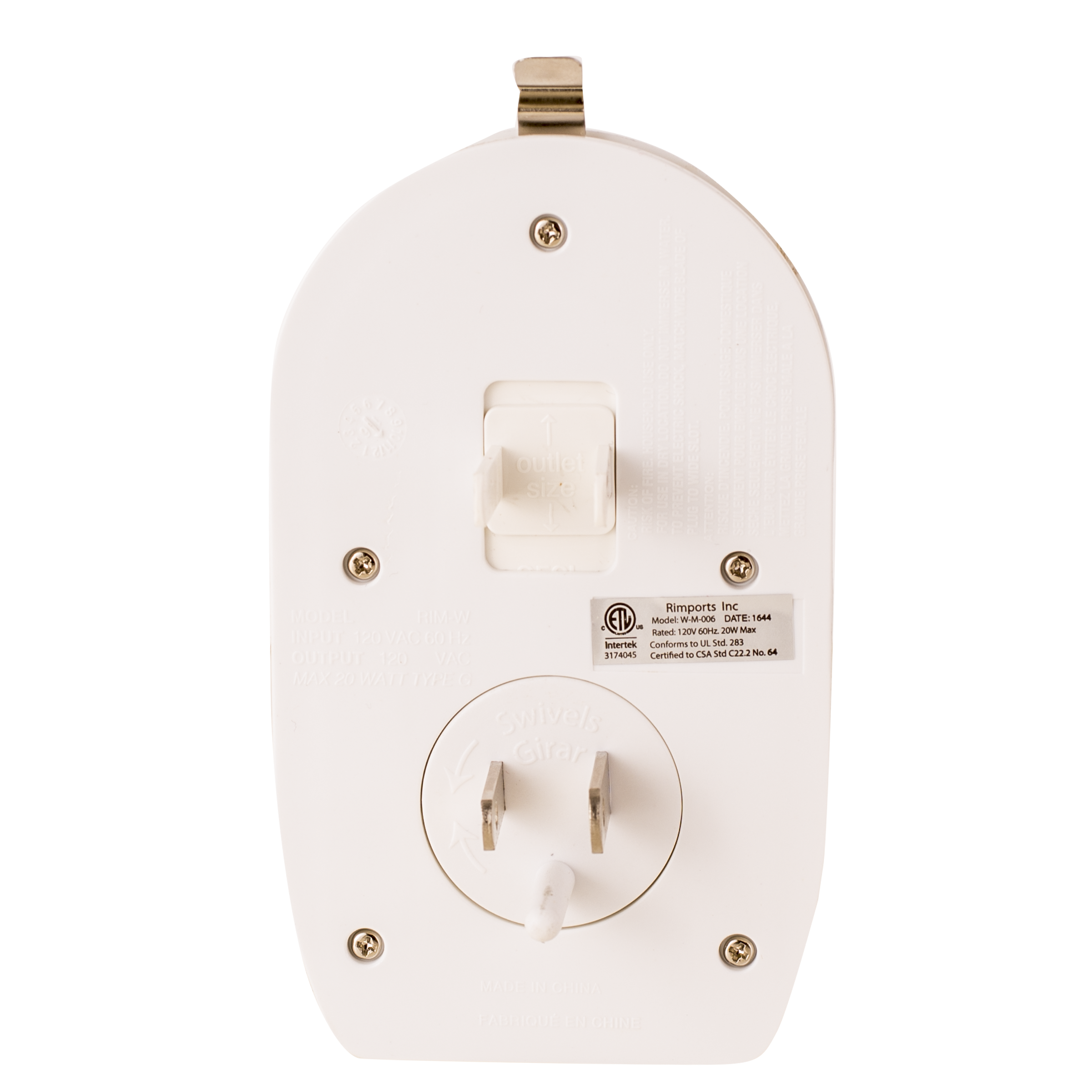 - Adjustable plugs to fit any outlet orientation