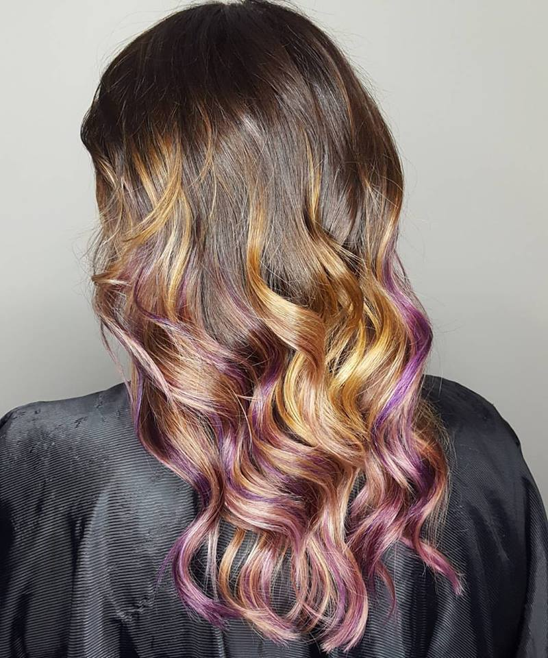 "Not all Balayage has to be just ""blonde"".   This has blonde, but I added purple in the bottom for a pop of fun!"