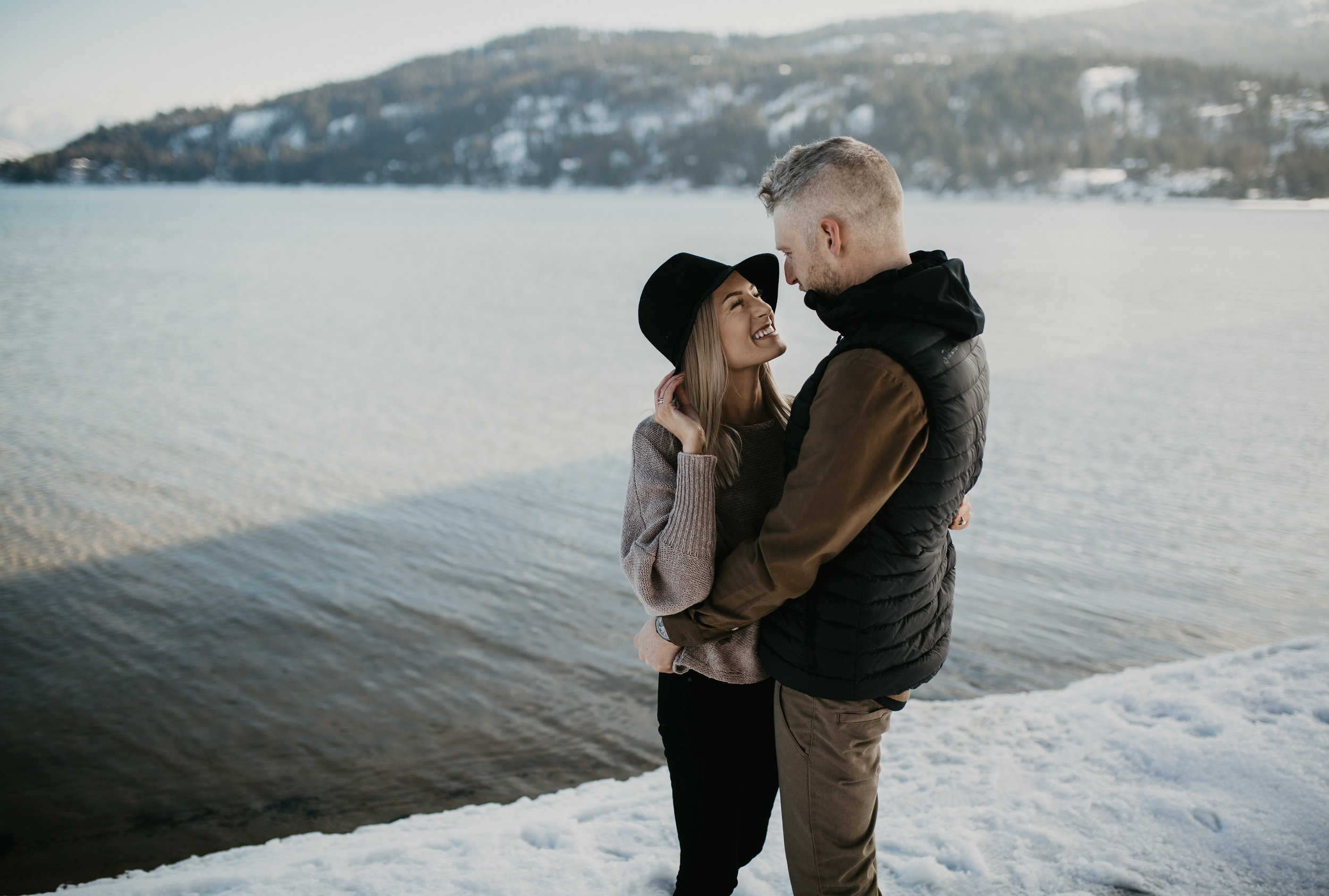 Romantic couples session overlooking Ponderay Lake in Sandpoint, Idaho