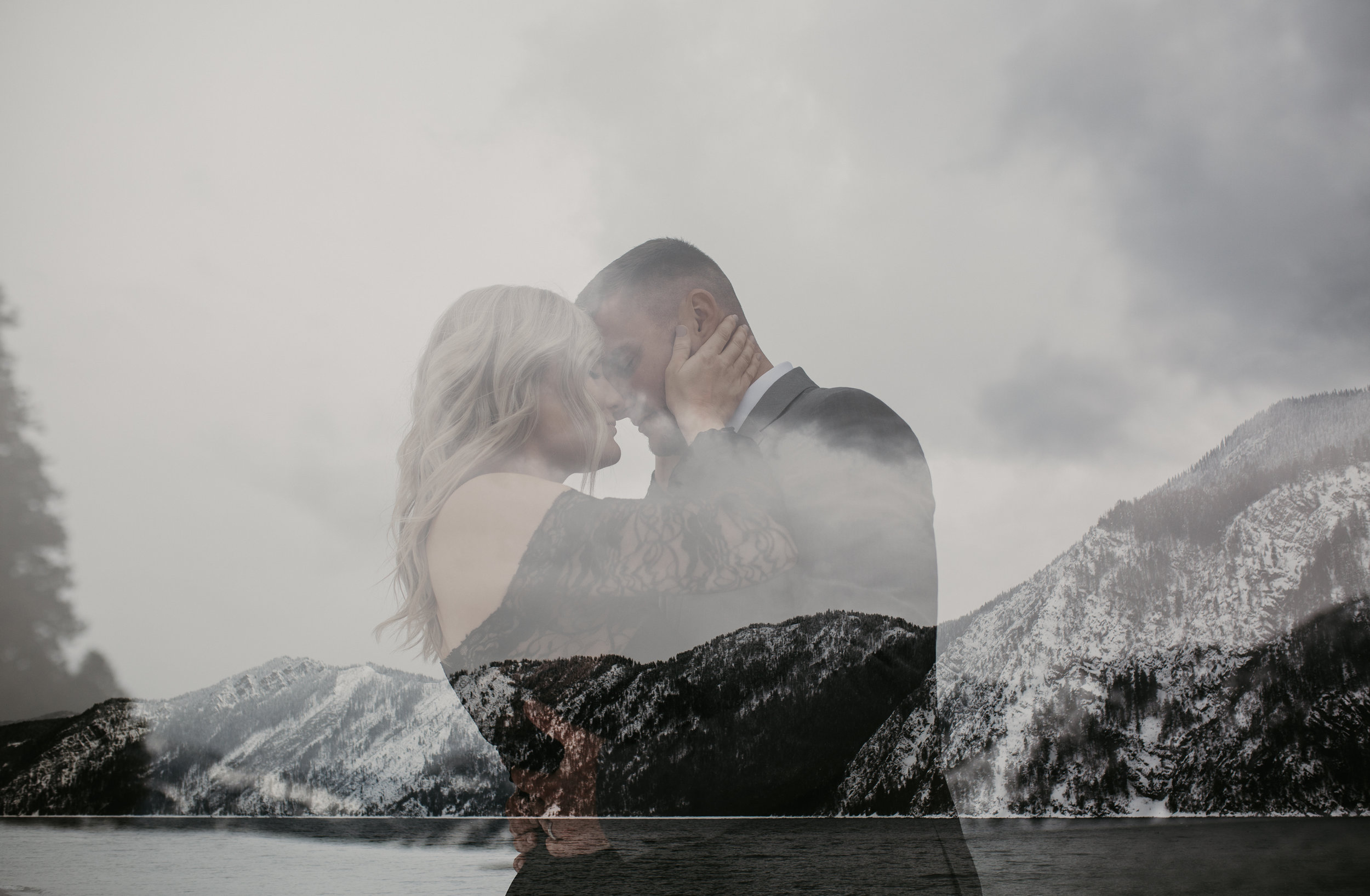 Bride and Groom holding each other in the snow during wedding adventure session