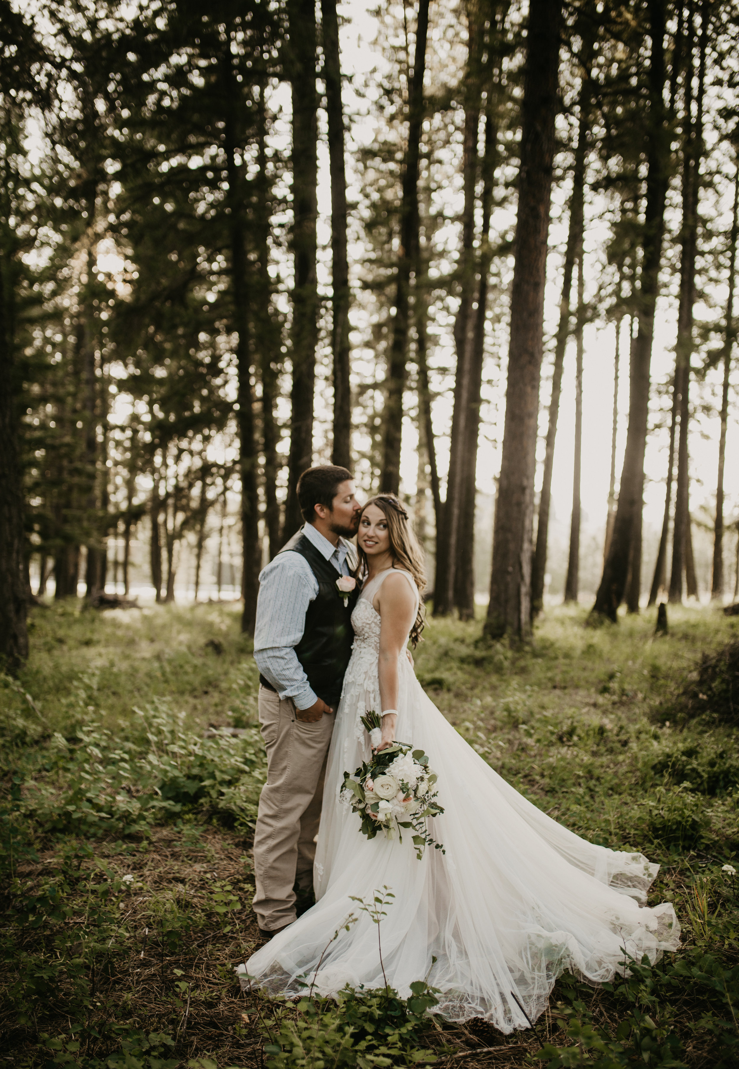 Bride and Groom Session in a woodland scene