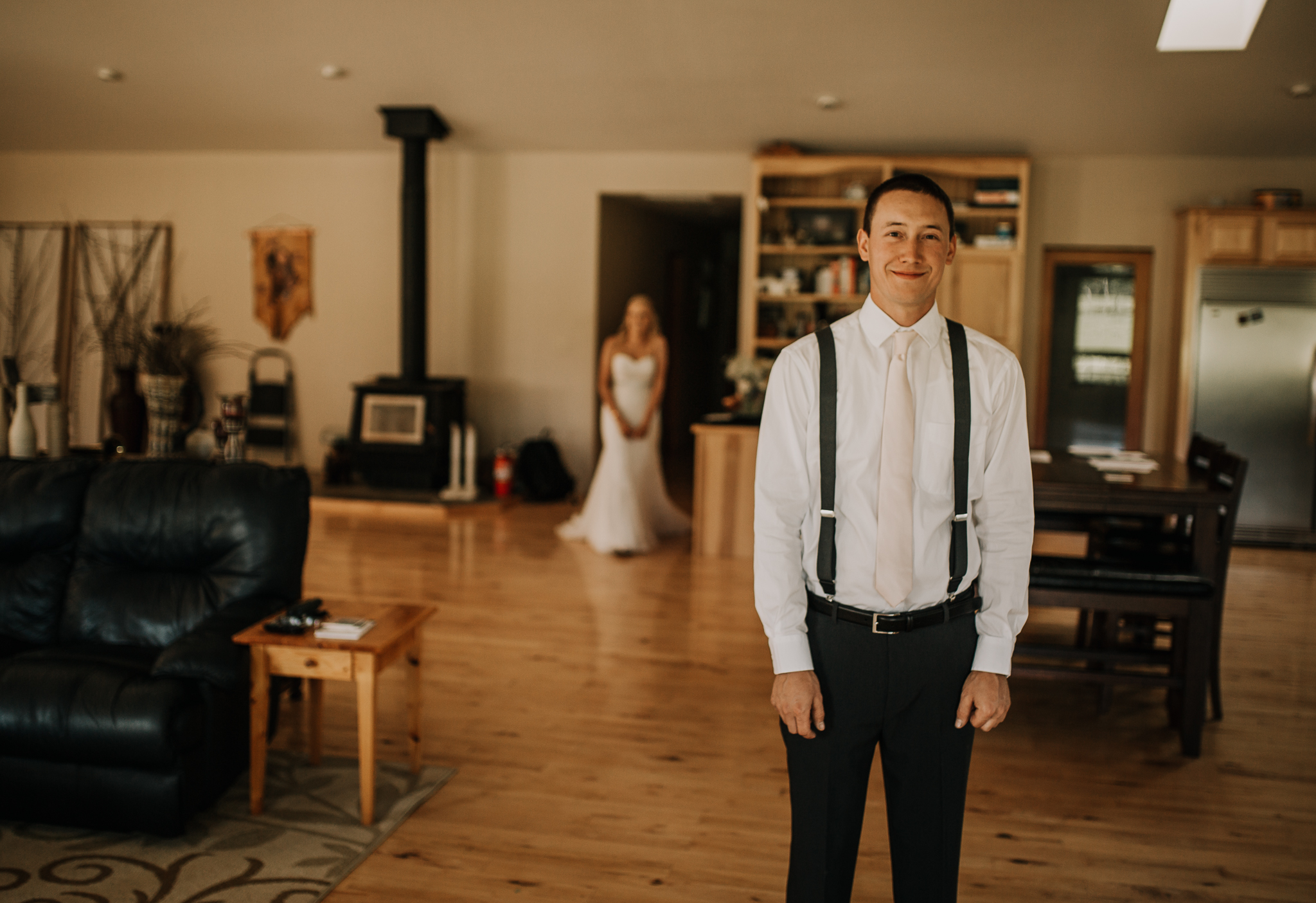 Bride and Groom first look on their wedding day in Harrison, Idaho