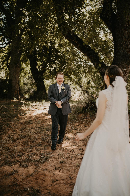 Bride and Groom exchange first look