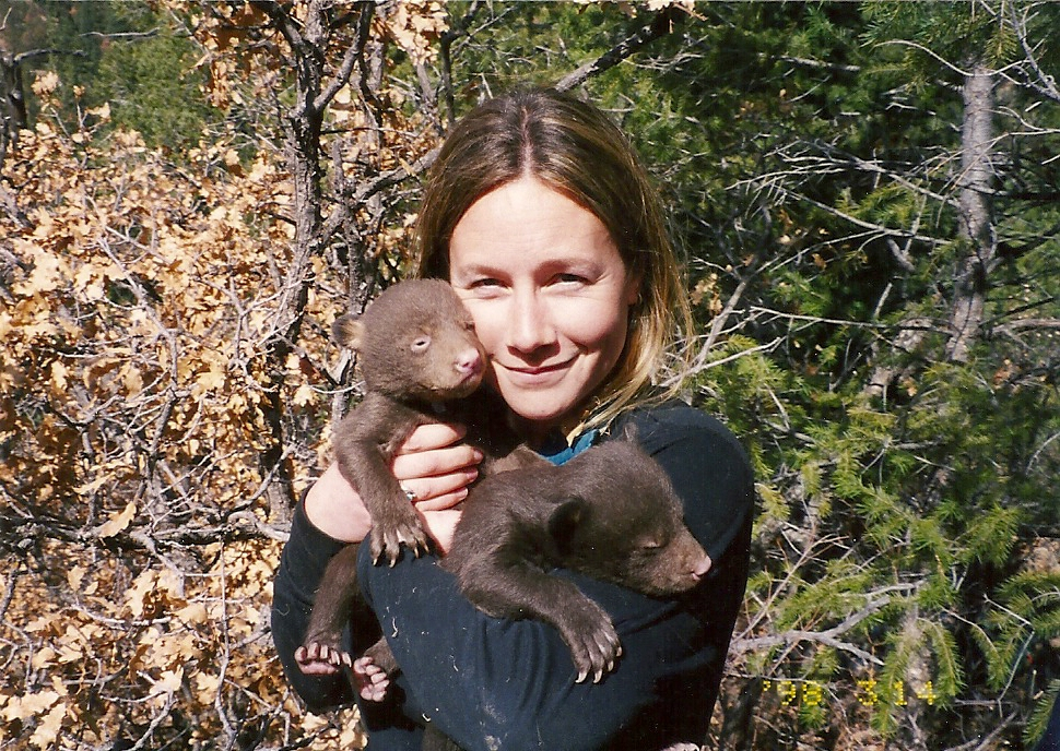 Deb with bear cubs at den site in New Mexico (1998)