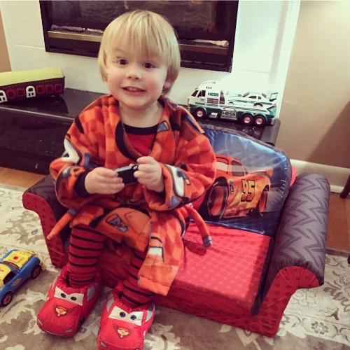 David in some of his Lightning McQueen gear.