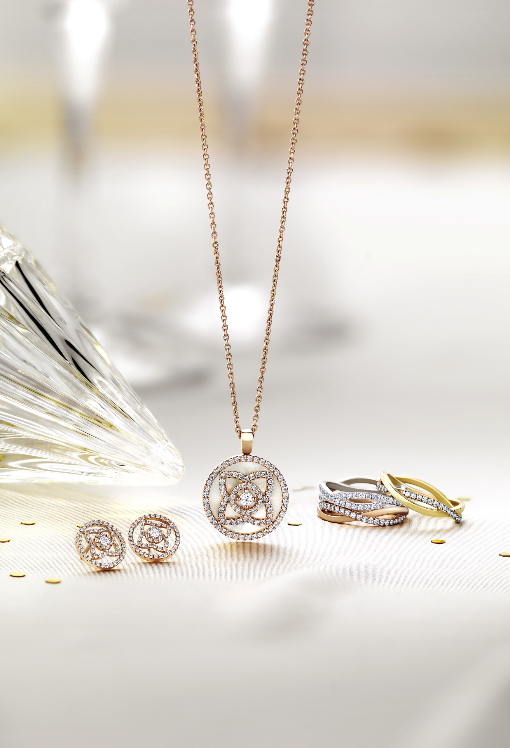 The Enchanted Lotus Collection, inspired by lotus flowers' unique synergy with the Sun.  Image Source & Credit : De Beers