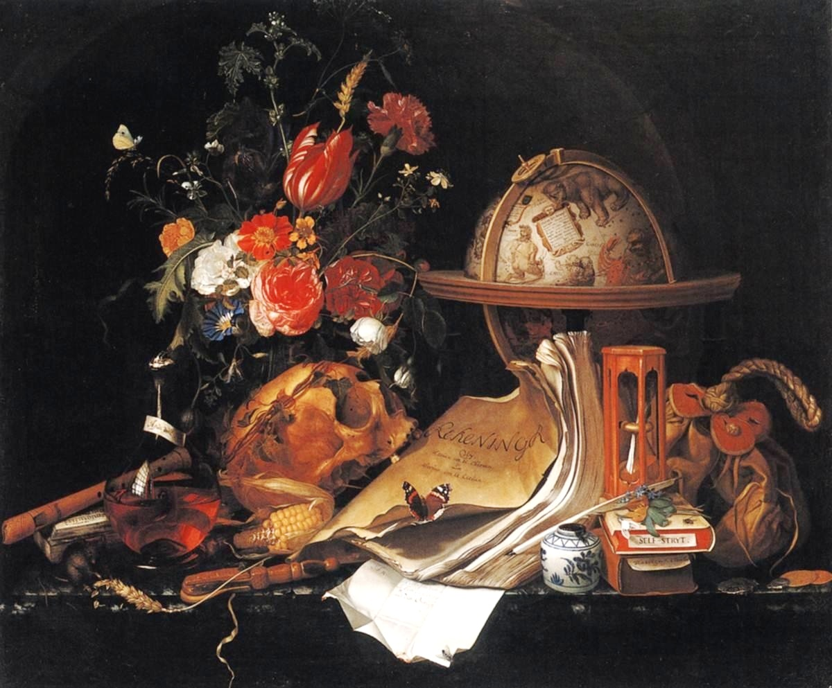 "Vanitas-Still Life ,  Maria van Oosterwijck  (1630–1693). ""A   vanitas   is a symbolic work of art showing the transience of life, the futility of pleasure, and the certainty of death, often contrasting symbols of wealth and symbols of ephemerality and death. Best-known are  vanitas   still lifes , a common genre in  Netherlandish art  of the 16th and 17th centuries; they have also been created at other times and in other  media  and  genres . [1] """