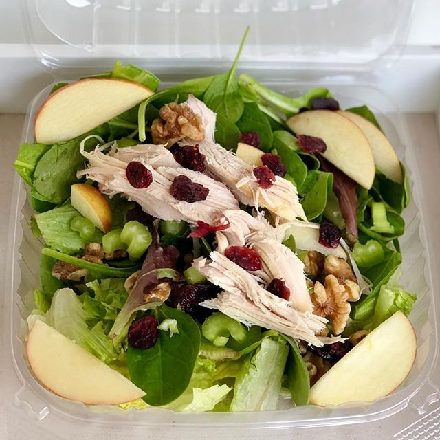 Cozy up with this hardy salad with oven baked turkey, dried cranberries, walnuts and apple slices.... #YUM #FRESH