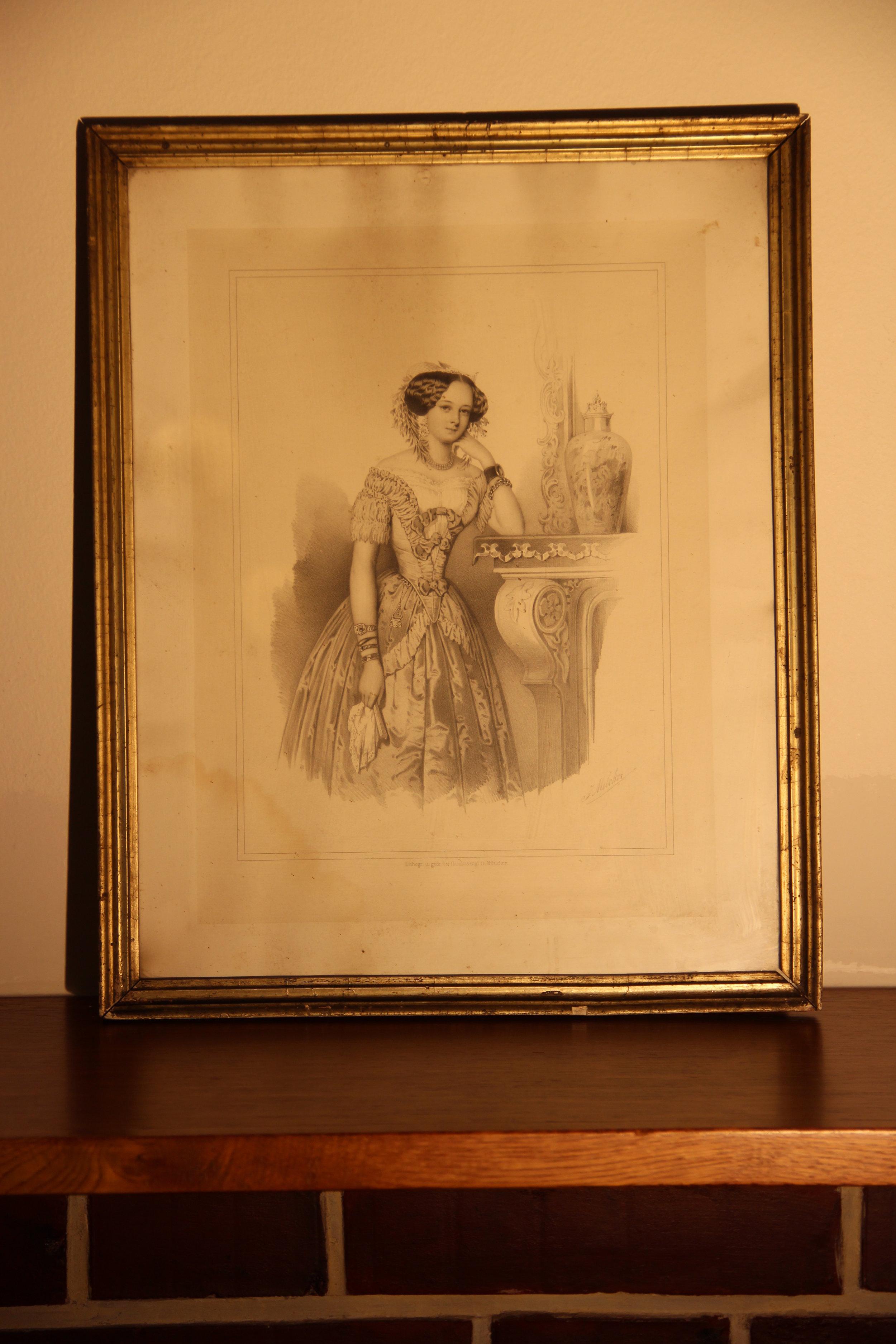 28. Obraz dámy, Melcher litografie, vyvolávací cena 1500,- Kč