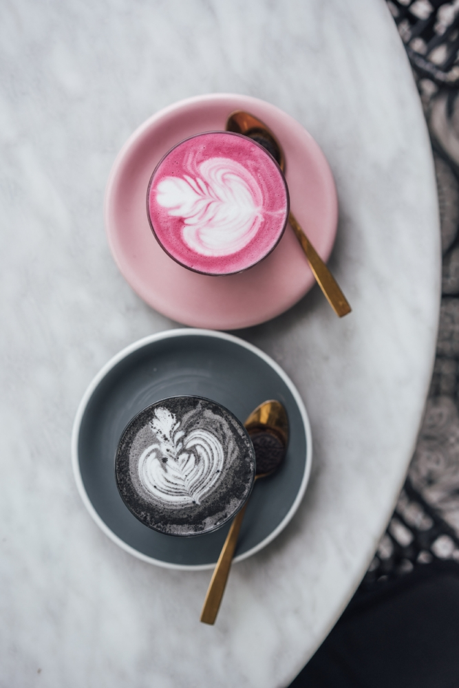 Coffee Cartel   Beetroot and charcoal lattes!