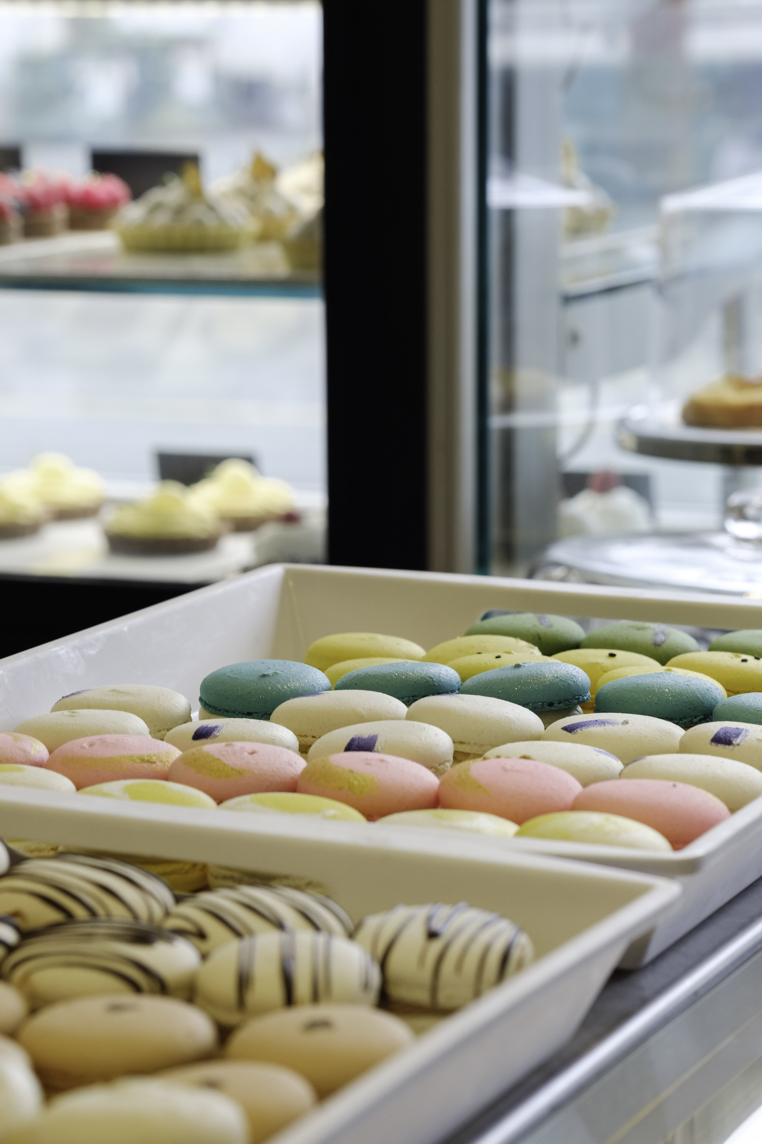 Colourful macarons at La Roux Patisserie