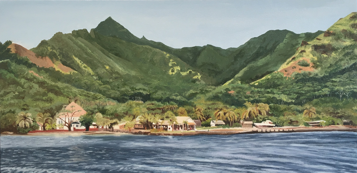 "Moorea, Water Soluble Oil Paint, 13.5"" x 25.5"""