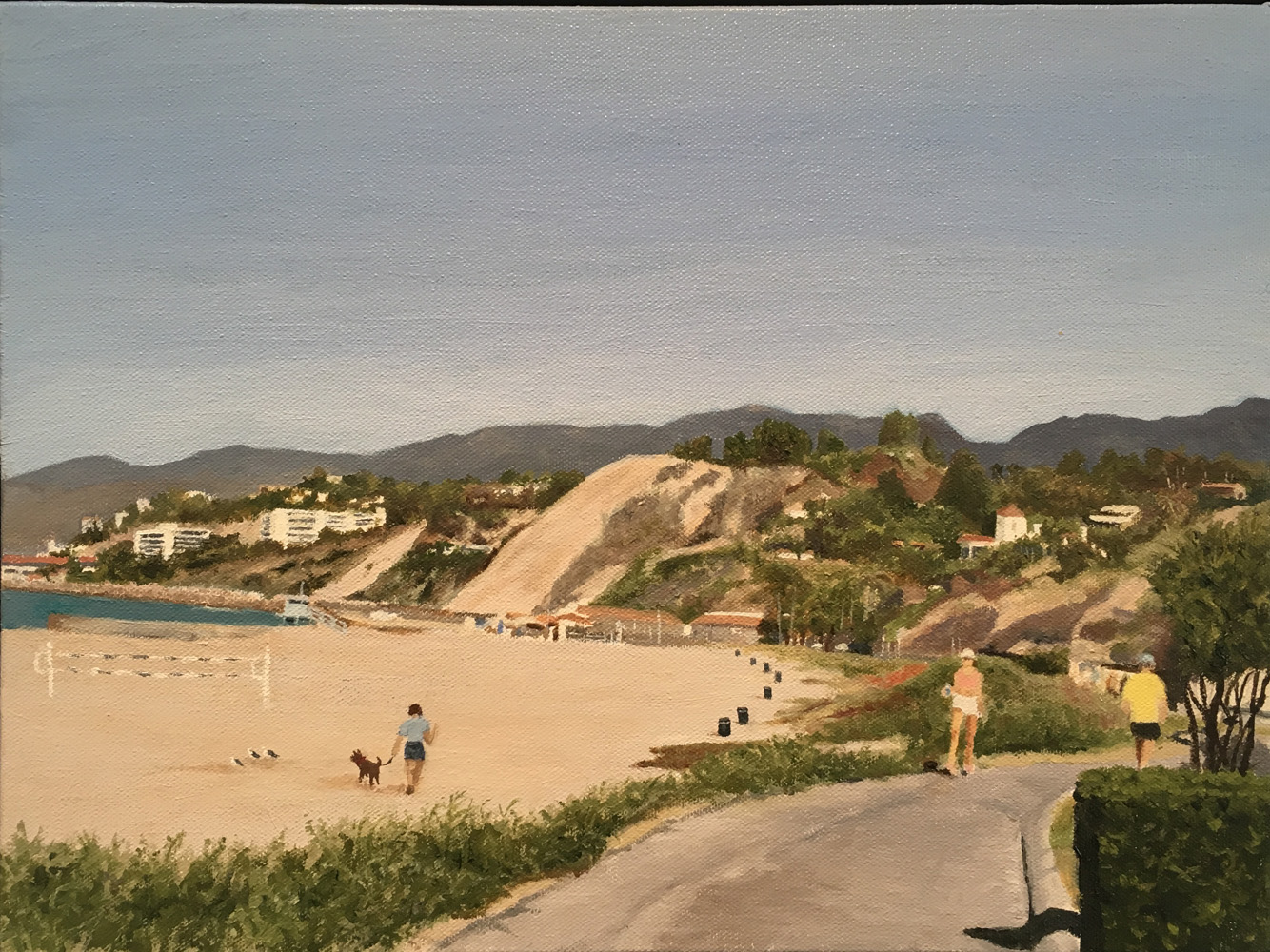 "Bike Path Beach View, Water Soluble Oil Paint, 13.5"" x 17.5"""