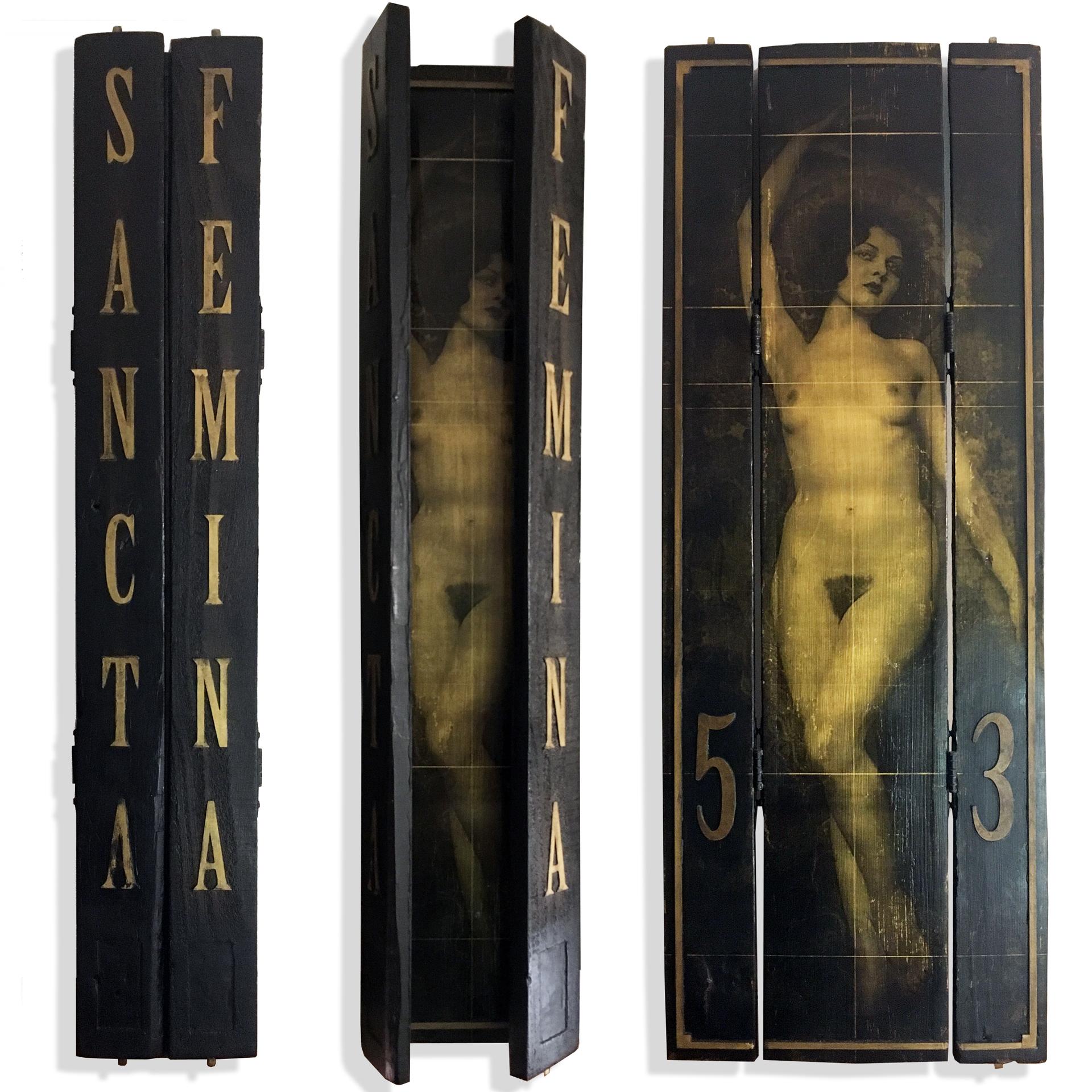Sancta Femina Iron Oxide, Acrylic on Recycled Wood w/ Metal Hinges