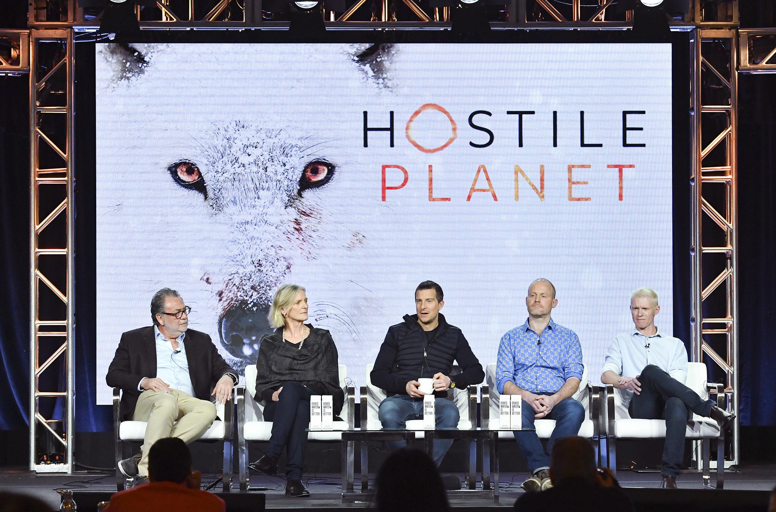 (From Left to Right) Producer: Guillermo Navarro, Producer: Martha Holmes, Host: Bear Grylls, Producer: Tom Hugh-Jones, Director/Cinematographer: Mateo Wilis.