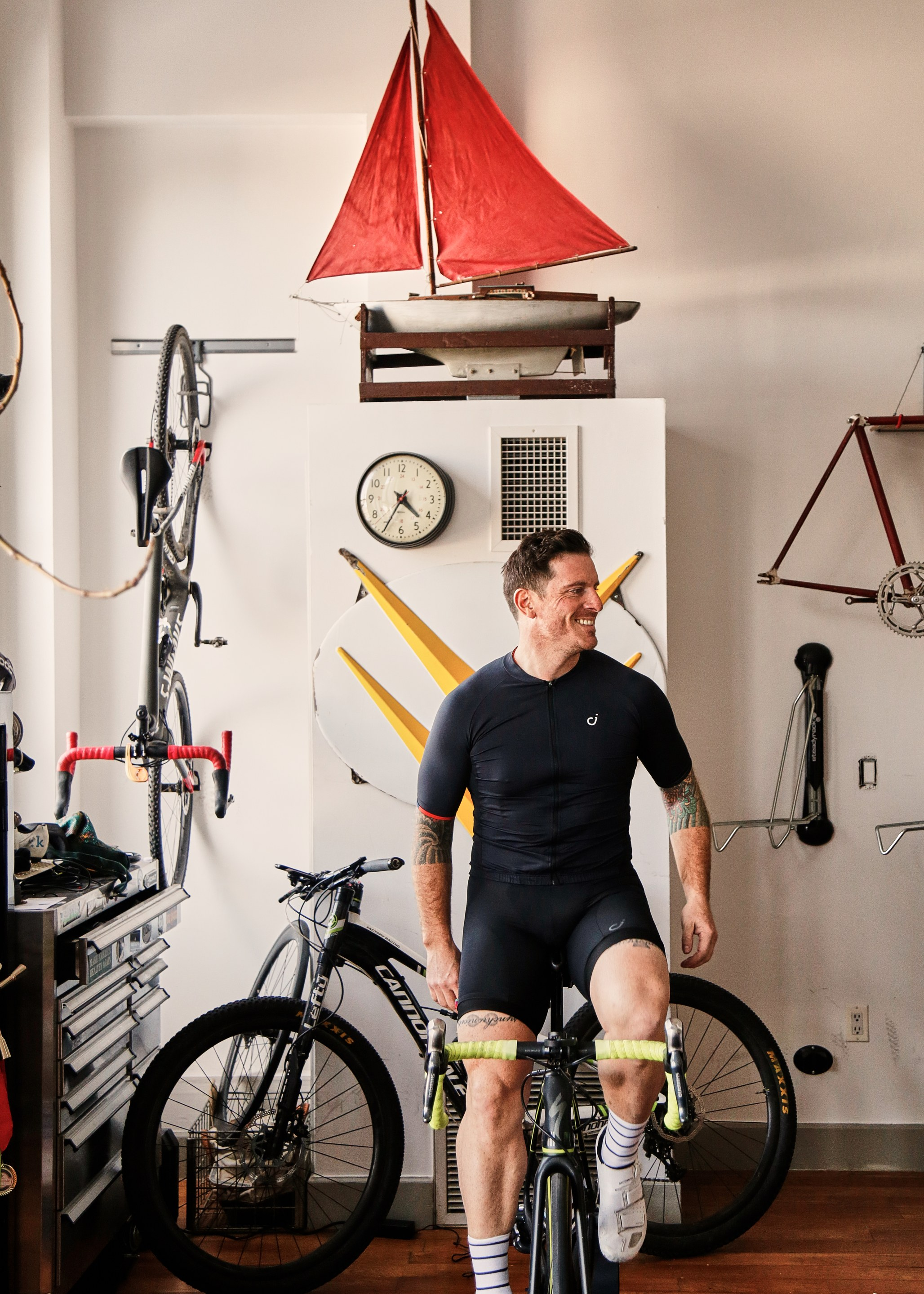 Seamus Mullen with his bikes in his dumbo, brooklyn apartment