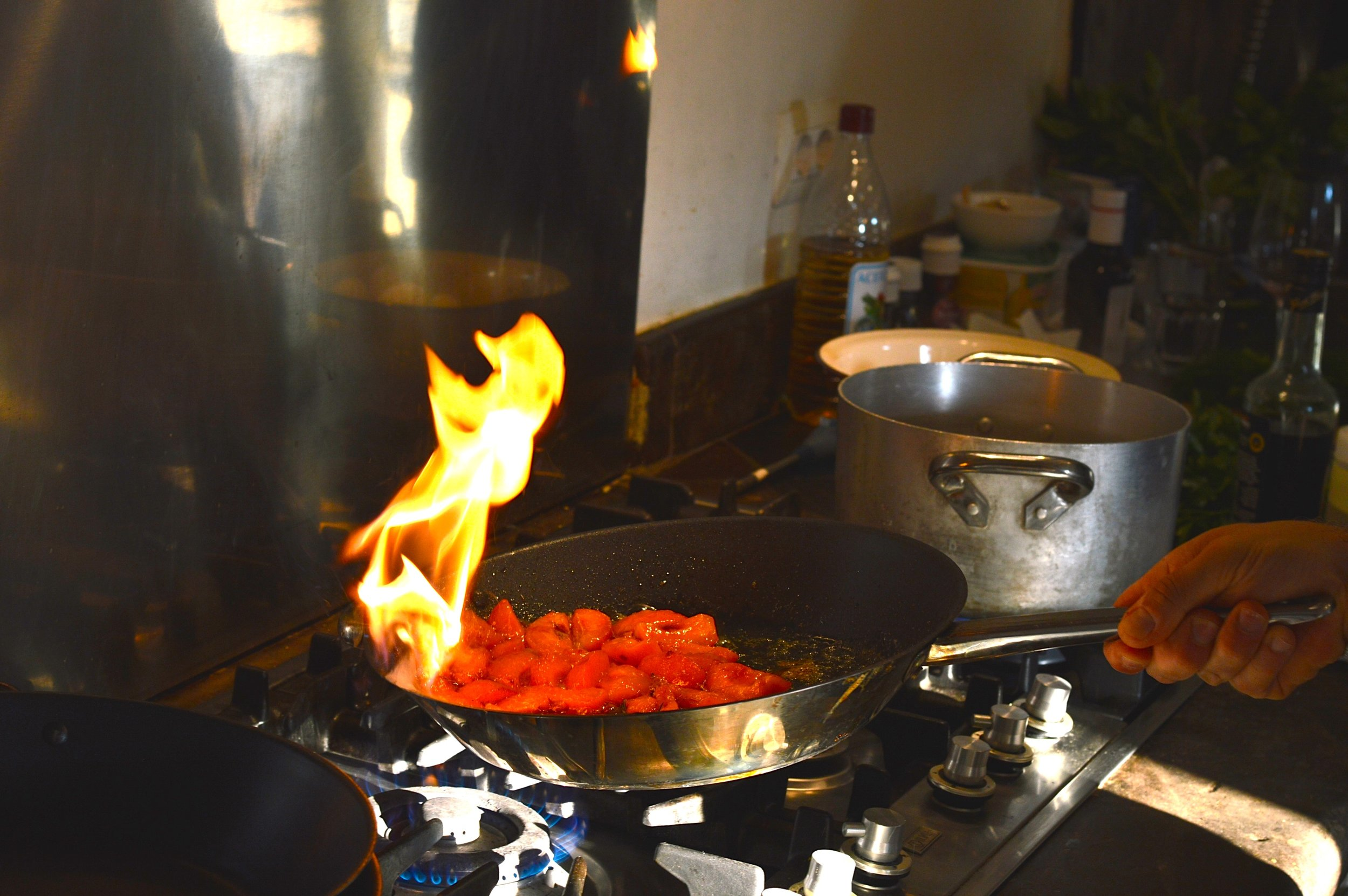 Peppers cooking in a pan