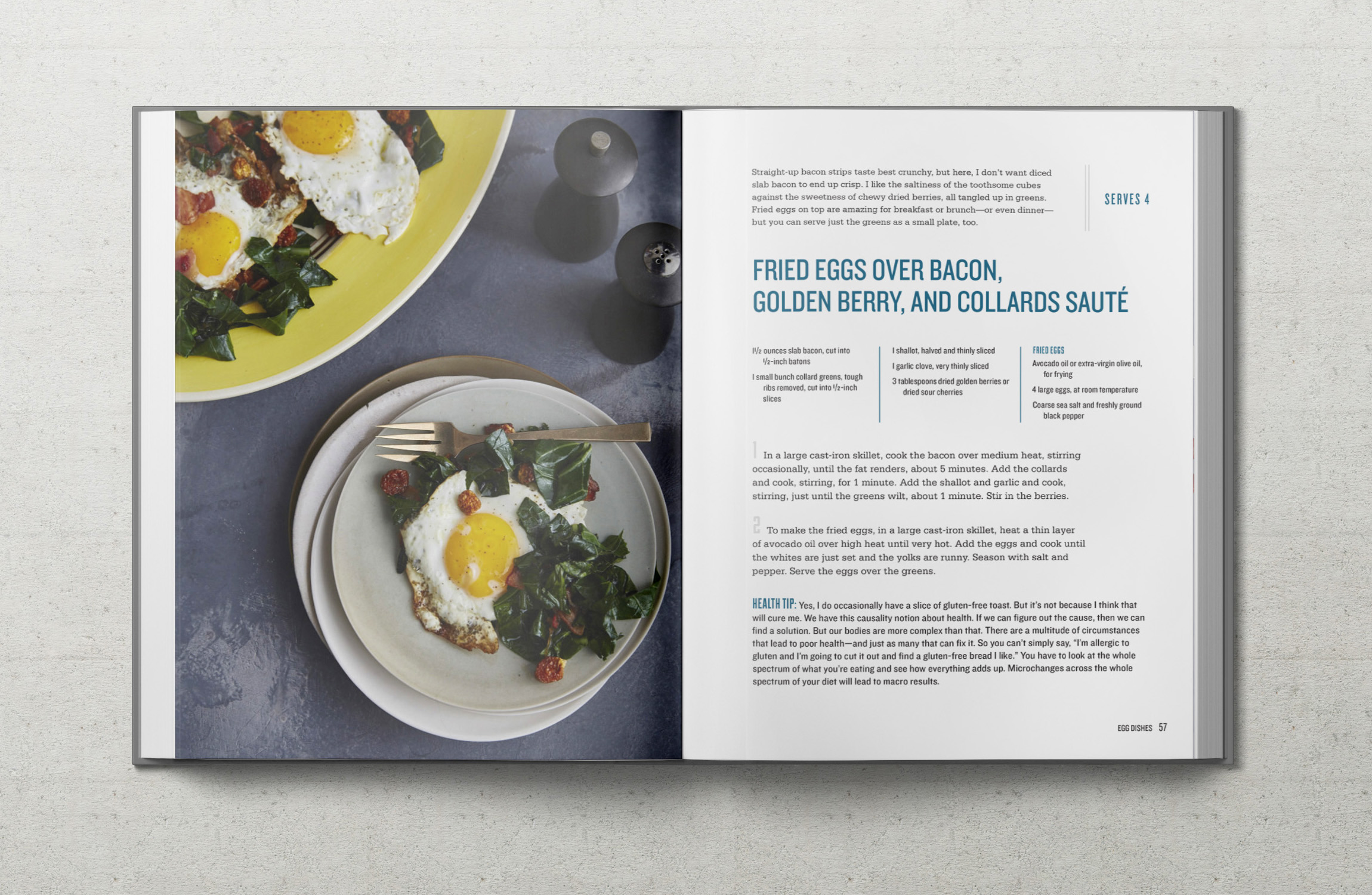 Real Food Heals recipe for Fried Eggs Over Bacon, Golden Berry and Collards Sauté