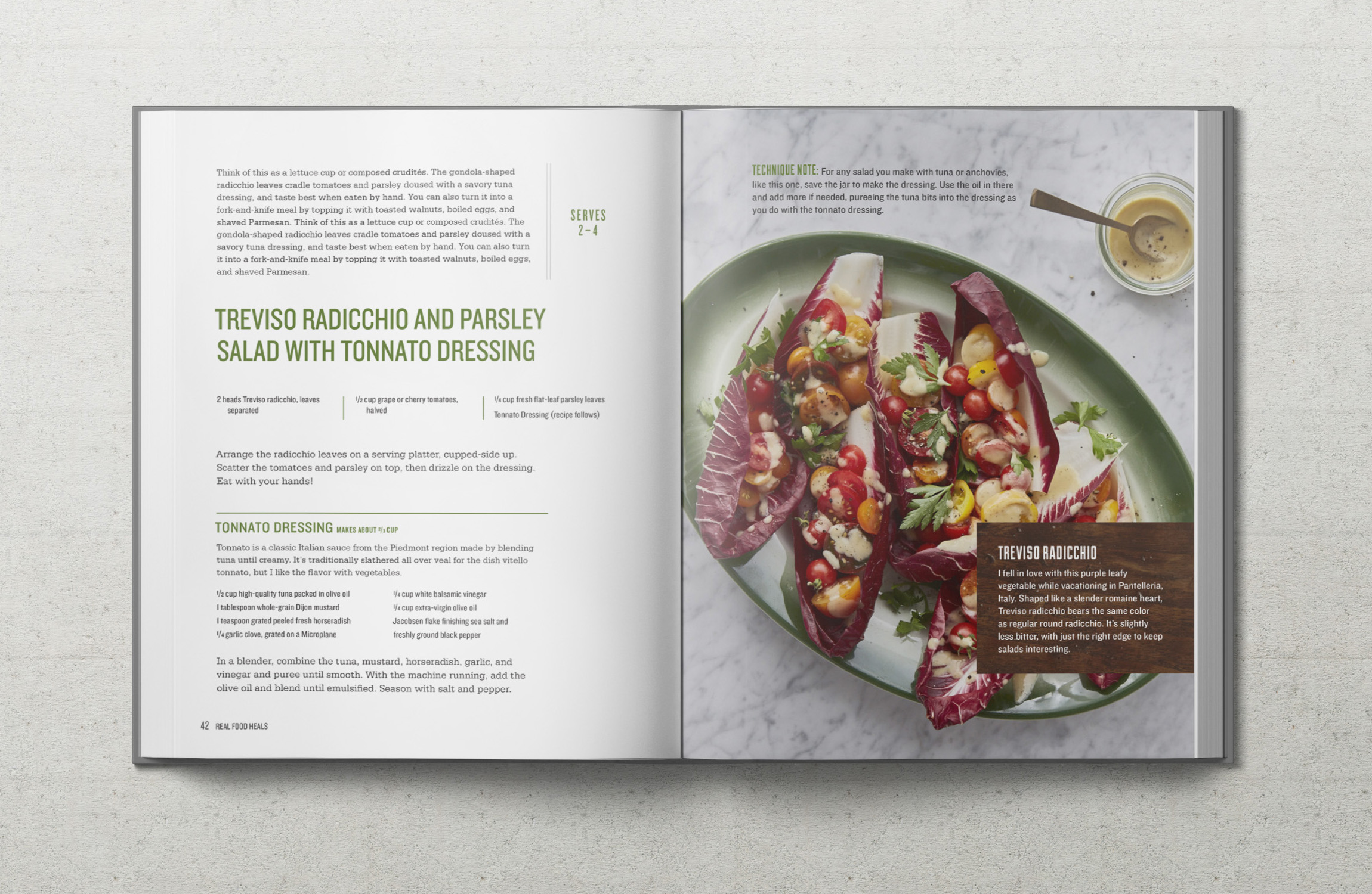 Real Food Heals recipe for Traviso Radicchio and Parsley Salad with Tonnato Dressing