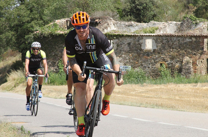 Seamus Mullen cycling in Italy during Duvine's Chef On Wheels Bike Tour