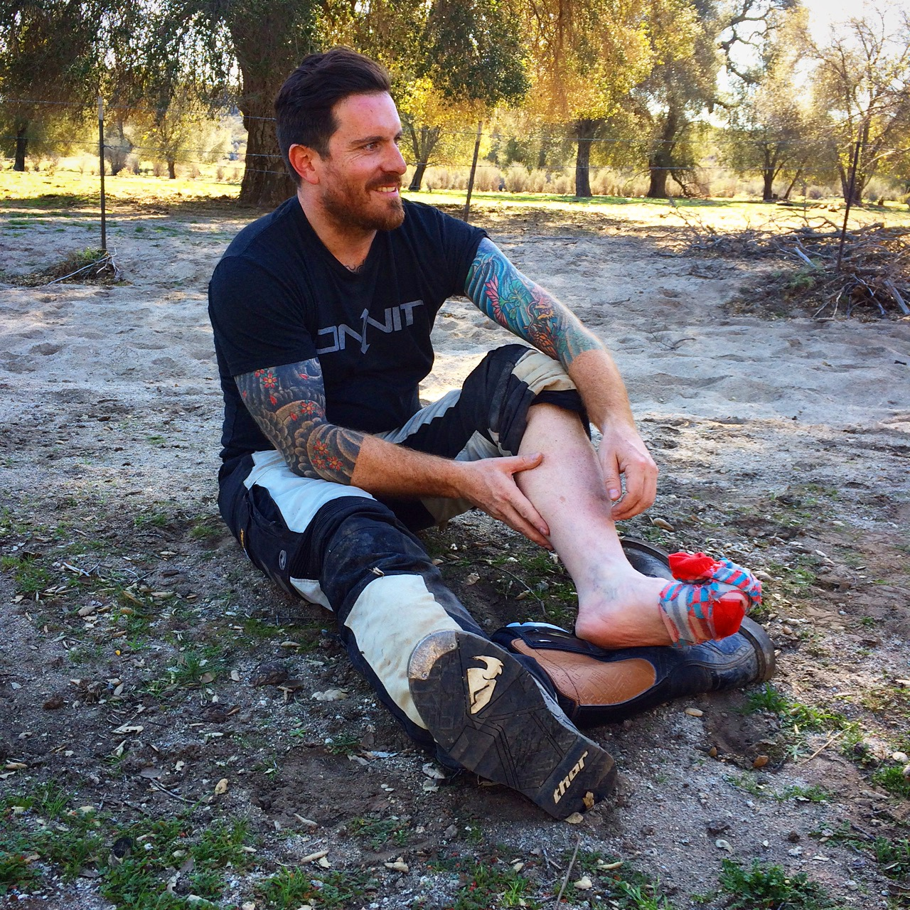 Seamus Mullen breaks his foot on a motorcycle trip in Baja California, Mexico