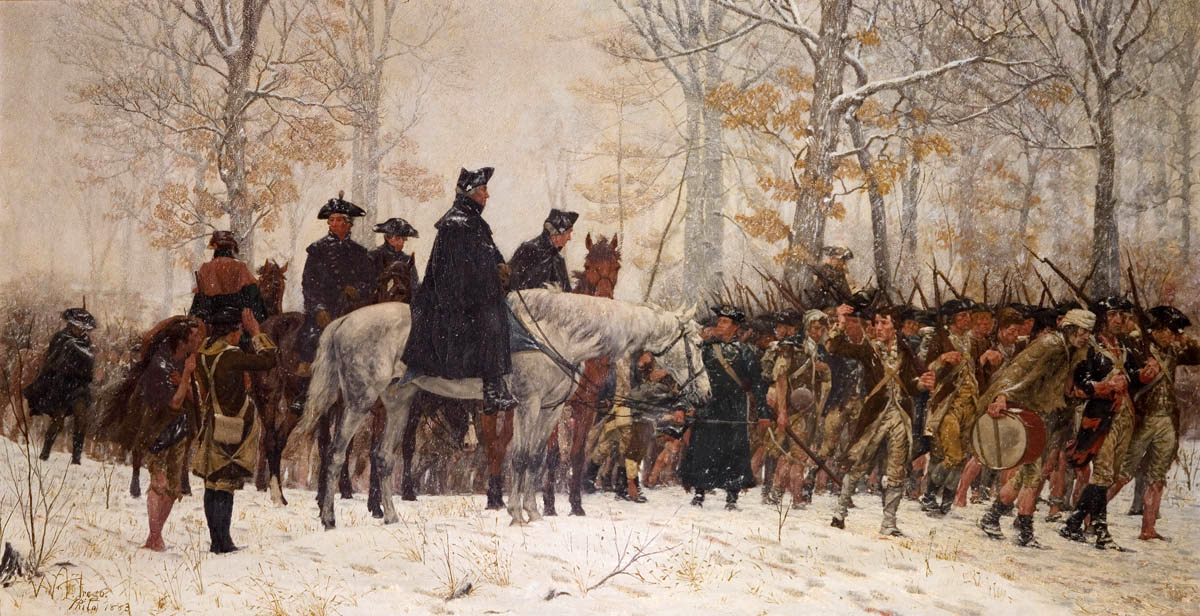George Washington leading troops through the winter.