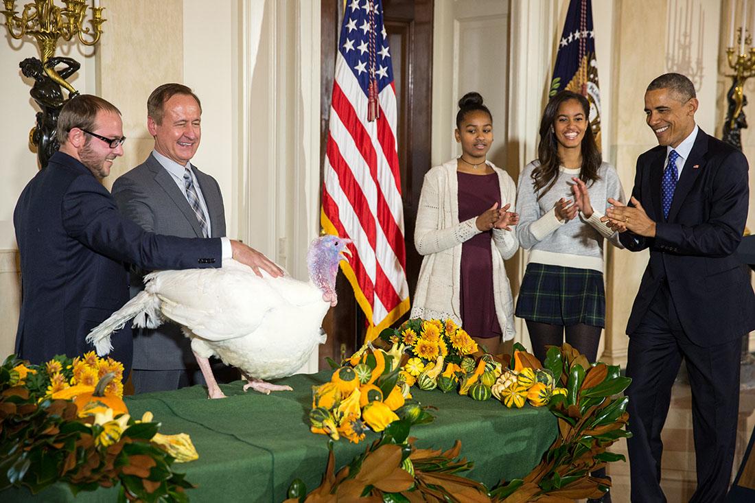 President Barack Obama pardoning a Turkey