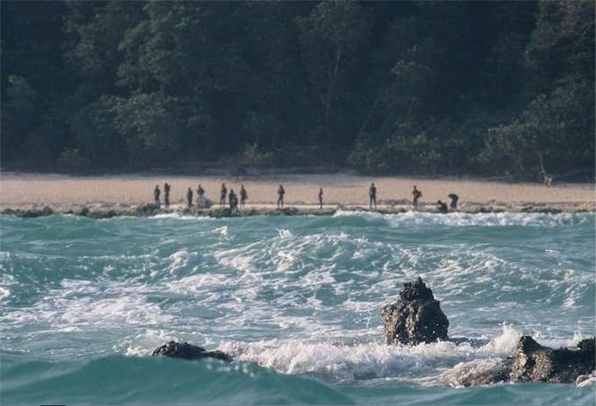 The Sentinelese protecting their island.