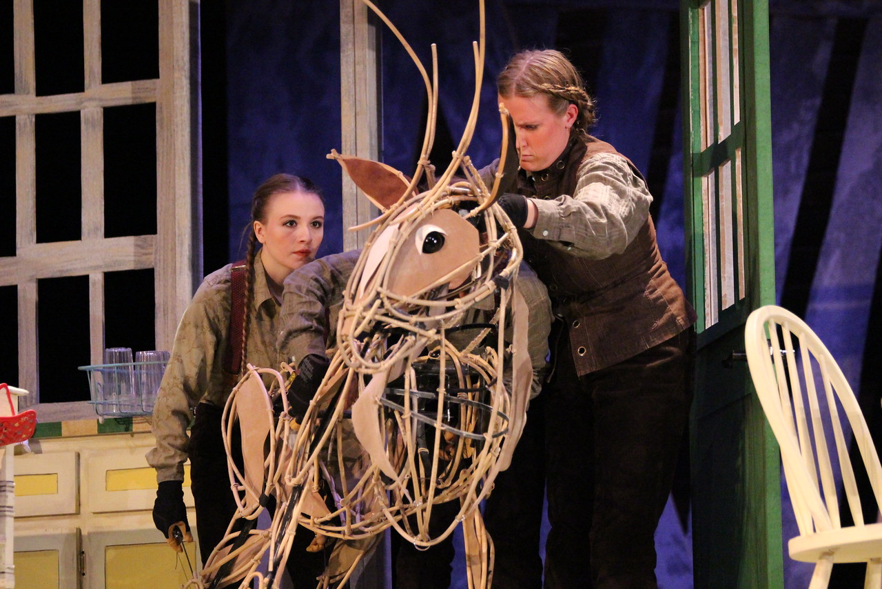 Prancer , by Greg Taylor. Directed by Matt Gutschick. Omaha Theatre Company, The Rose Theater. Puppet Design by Erik Novak.  Photo by Alex Myhre .