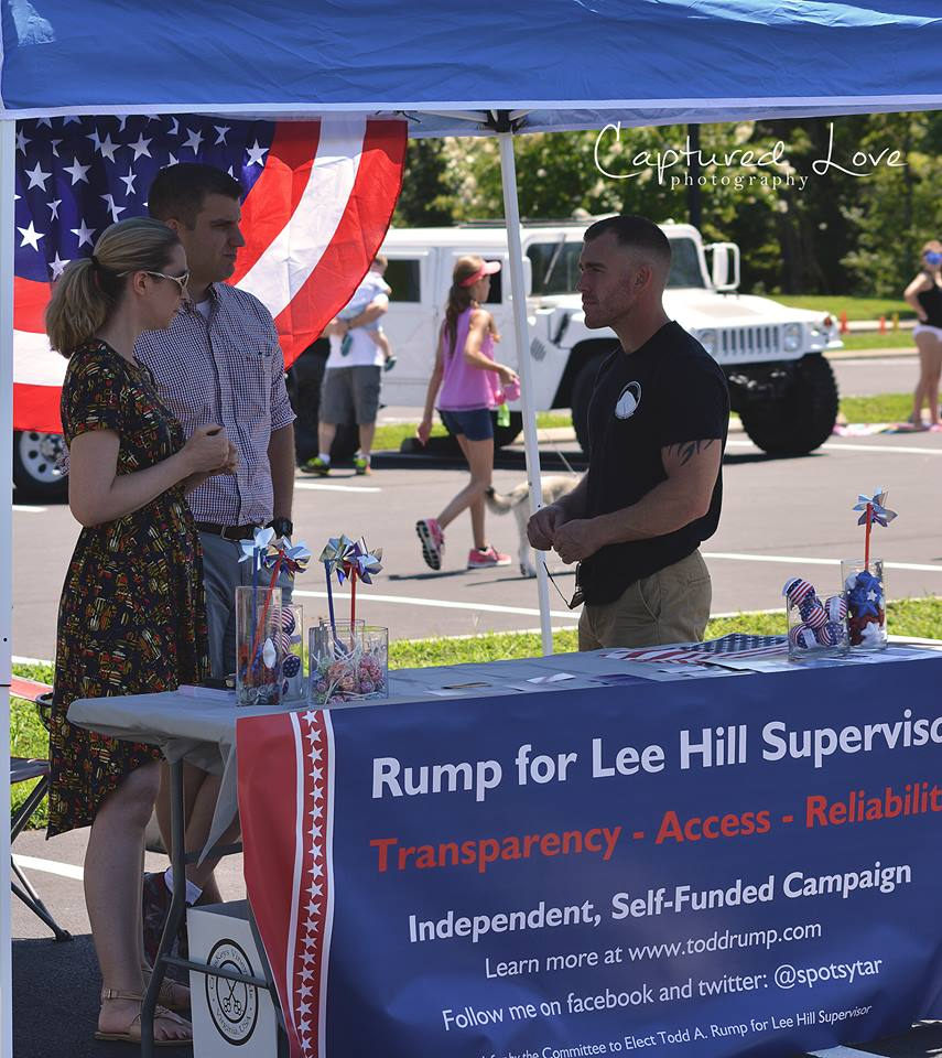 Speaking to a Lee Hill Voter