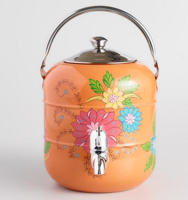 World Market- Hand Painted Stainless Steel Drink Dispenser $27.99