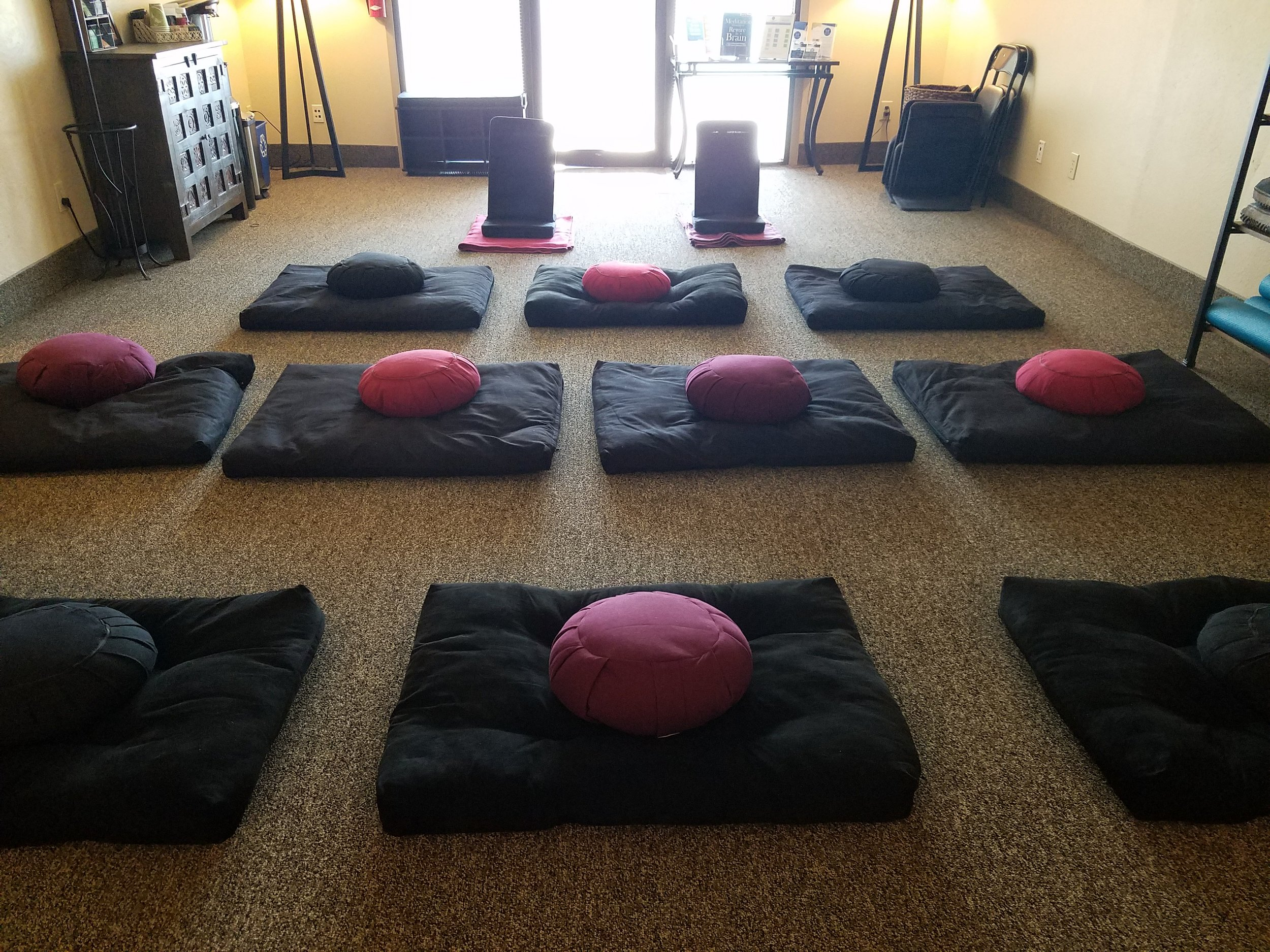 The lobby of the NeuroMeditation Institute, set up for a meditation class in Corvallis, OR