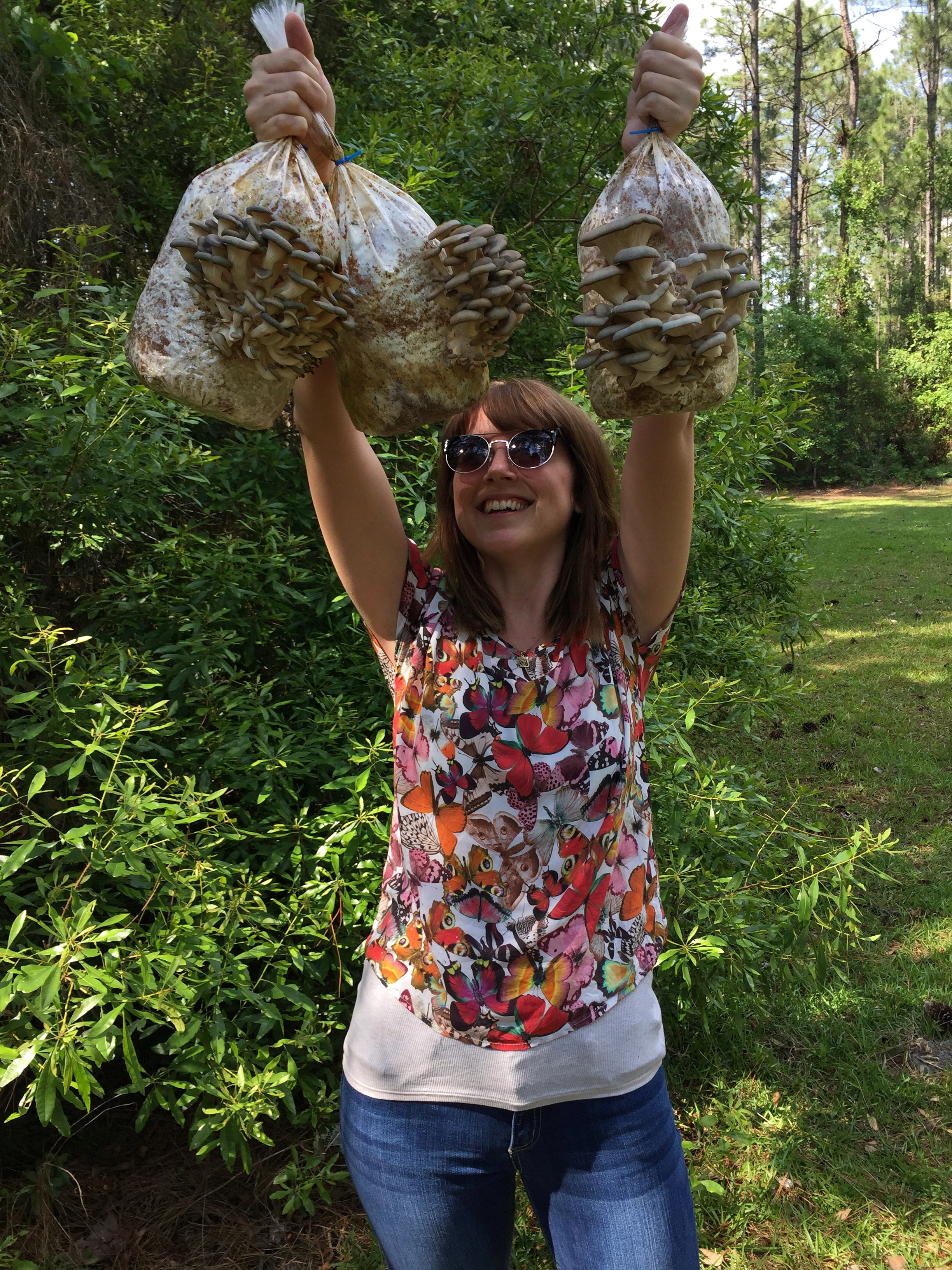 My lovely wife-to-be holding some of the more recent Oyster kits. They can get huge!