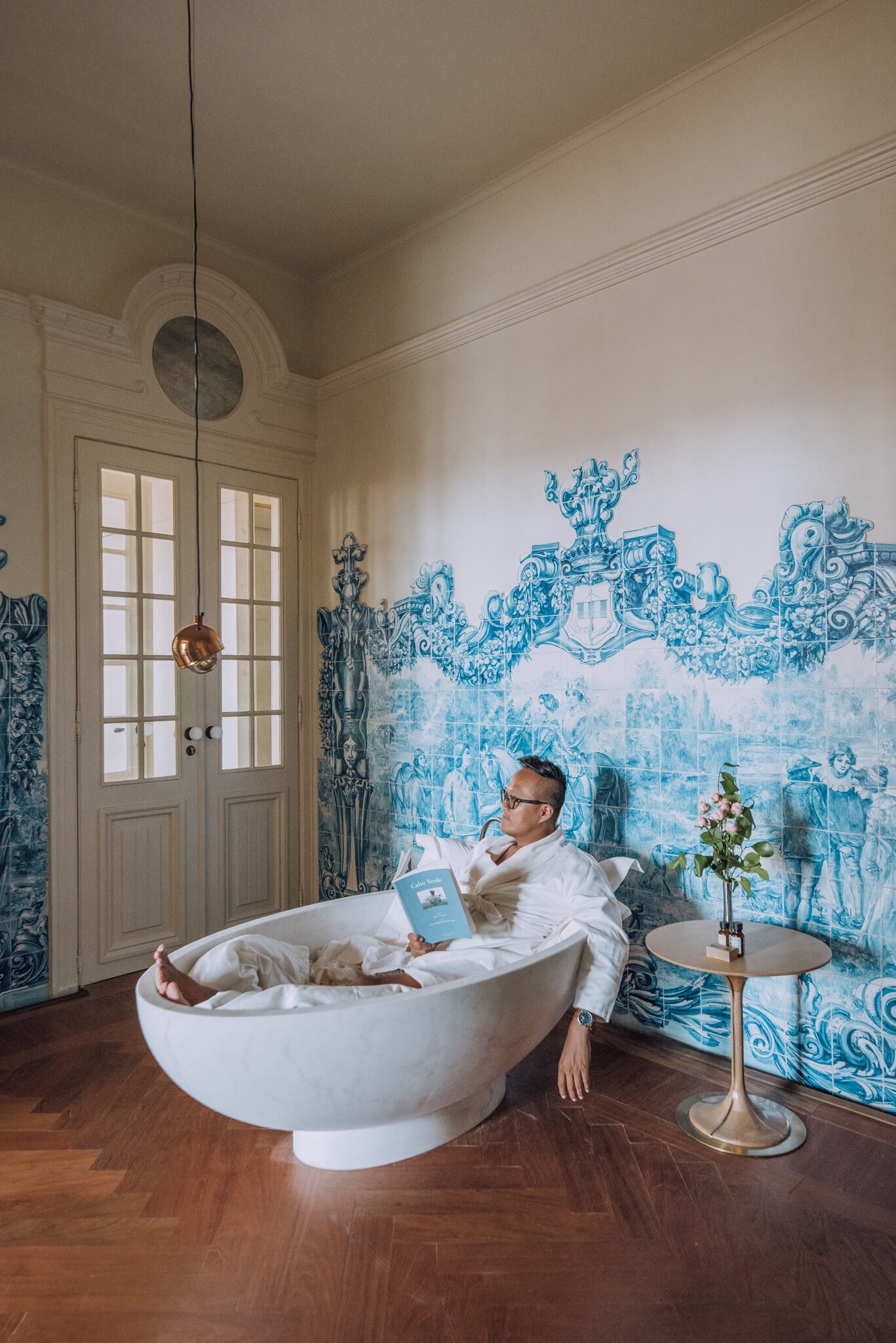 This bathtub we turned into a reading area was surprisingly comfortable!