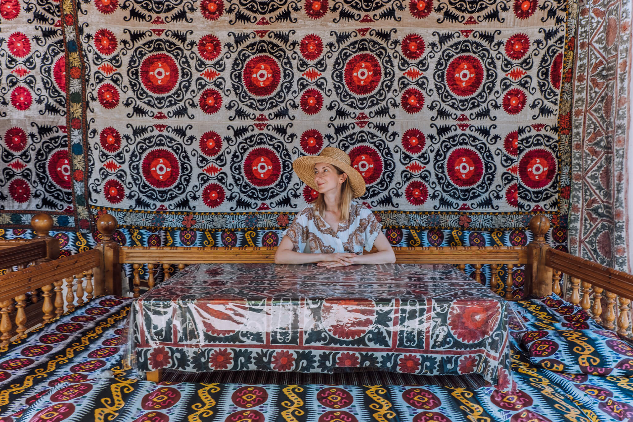 Most restaurants are decorated with beautiful Uzbek patterns