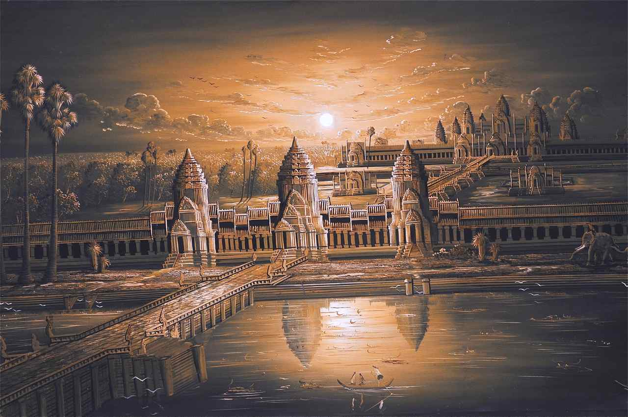 Painting of Angkor Wat monastery