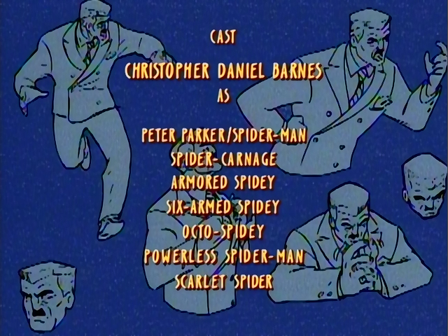 The best irony: putting Spider-Man's voice credits over art of J. Jonah Jameson.