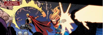 (L to R) Thor, Capt. Marvel, Nameless Unfortunate Vampire.