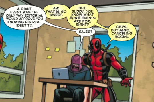 Deadpool spilling the tea about  EVENT  comics. Image Credit: Spider-Man/Deadpool #50