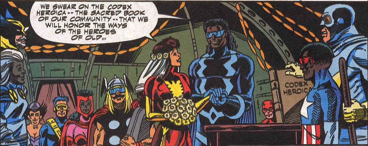 Though I think that's Tom DeFalco as Thor in the middle there...